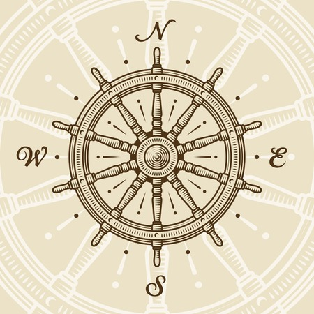 Vintage ship wheel Vector