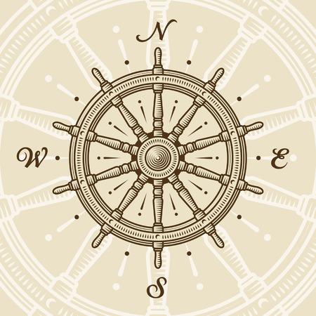 nautical compass: Vintage ship wheel