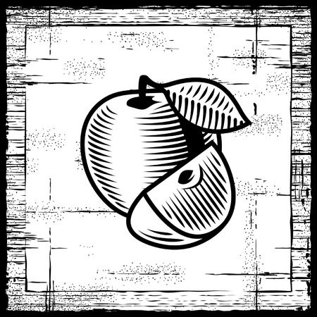 Retro apple black and white Vector