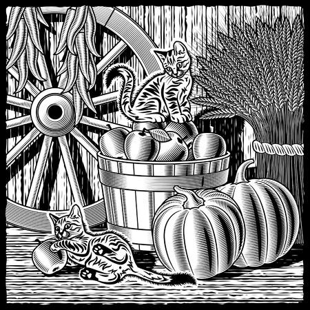 xilografia: Granero retro con cosecha blanco y negro