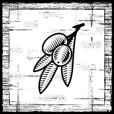 Retro olive branch black and white Vector