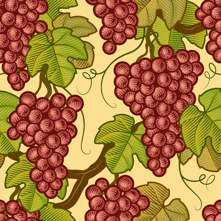 포도 수확: 원활한 포도 배경 일러스트