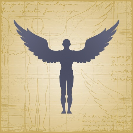 male symbol: Winged man Illustration