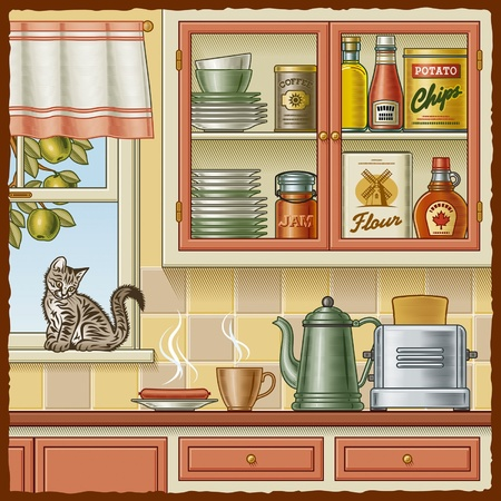 cartoon kitchen: Cocina retro Vectores