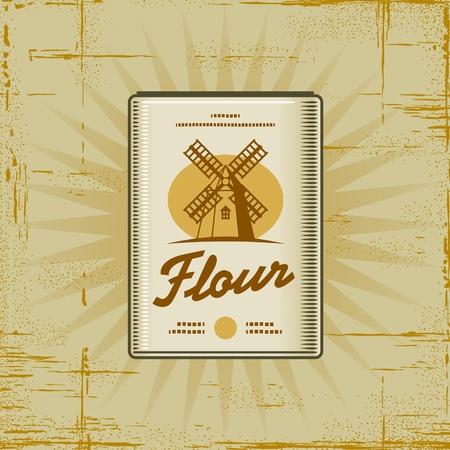 Retro Flour Pack Vector