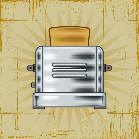 stainless steel kitchen: Retro Toaster Illustration