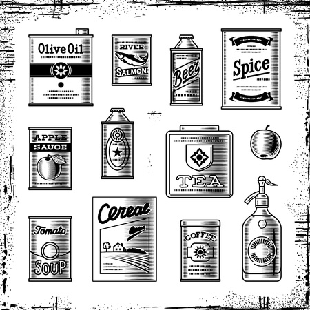 canned food: Retro grocery set black and white Illustration