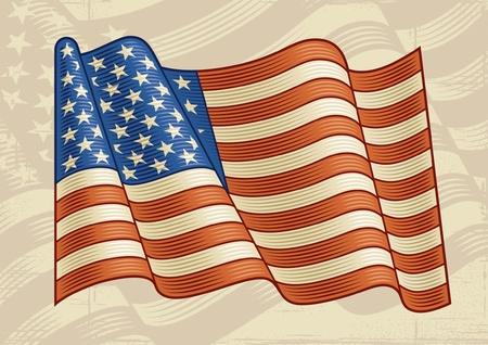 xilografia: Vintage de la bandera americana Vectores