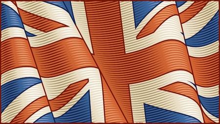 british culture: Bandera brit�nica Vintage (primer plano) Vectores