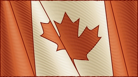 Vintage Canadian Flag (close-up) Vector