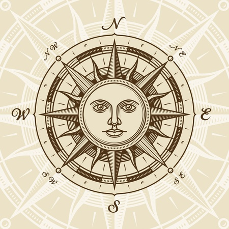 wind rose: Vintage sun compass rose