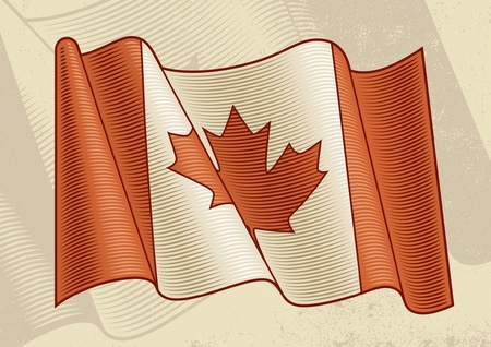 canadian flag: Vintage Canadian Flag Illustration