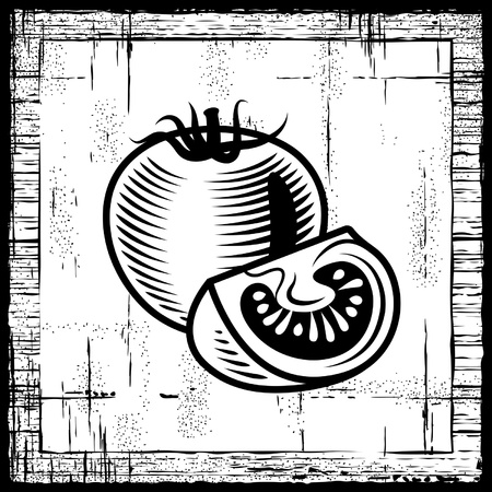 Retro tomato black and white