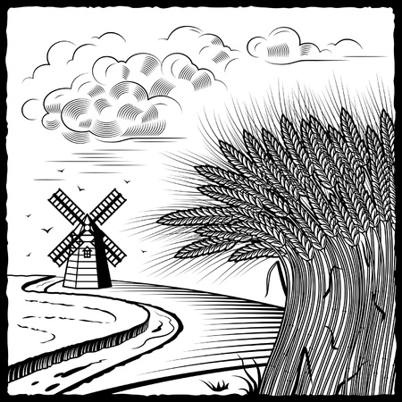 Wheat fields black and white Vector