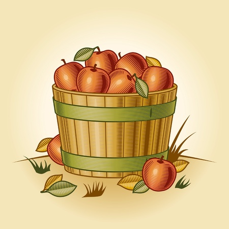 Retro bushel of apples Stock Vector - 10871216