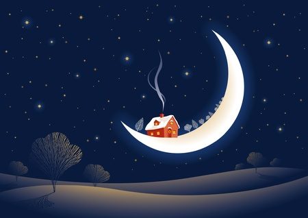 Christmas moonlit night Vector