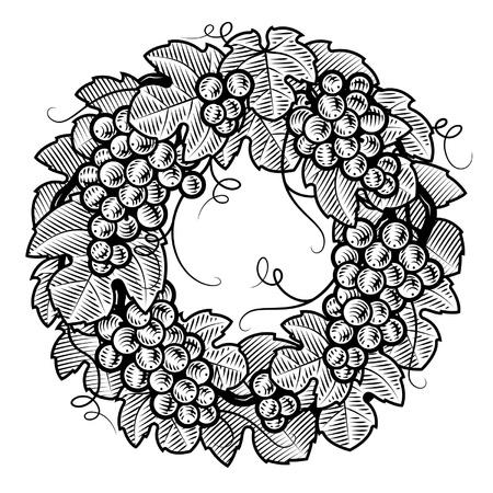 grape crop: Retro grapes wreath black and white