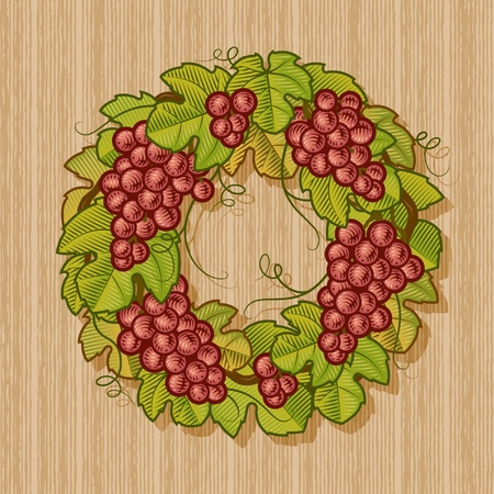 Retro grapes wreath Vector