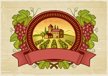 tuscany landscape: Grapes harvest label