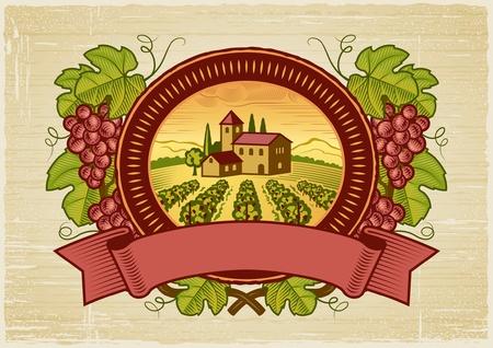 Grapes harvest label