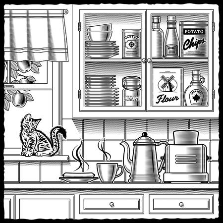 ustensiles de cuisine: Cuisine r�tro en noir et blanc Illustration