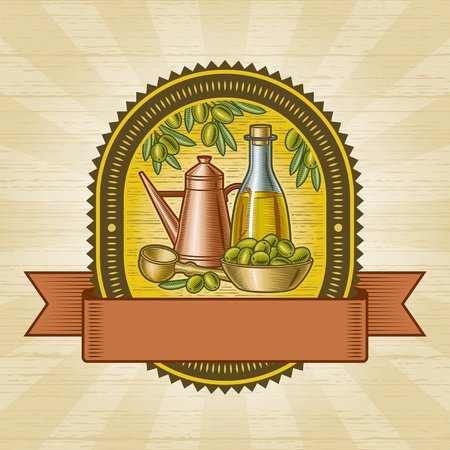 Retro olive harvest label Stock Vector - 13234670