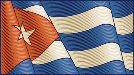 cuban flag: Vintage Cuban Flag (close-up) Illustration