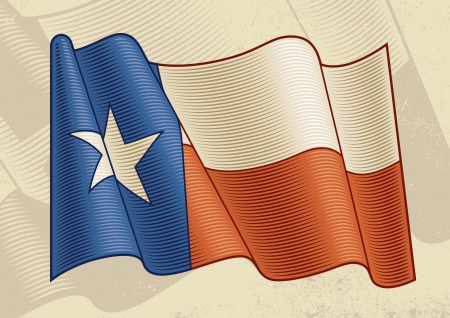 texas state flag: Vintage Texas Flag Illustration
