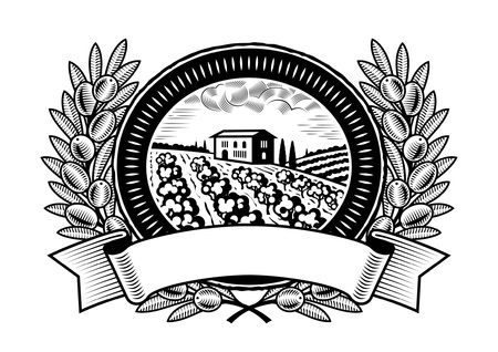 Olive harvest label black and white Vector