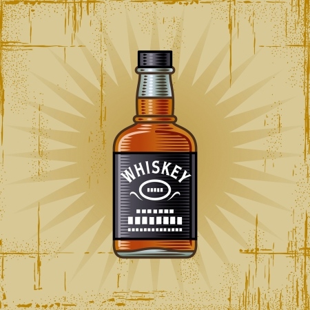 whiskey glass: Retro Whiskey Bottle Illustration