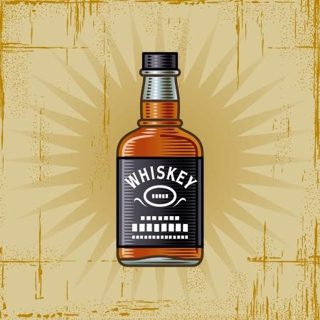whiskey: Retro Whiskey Bottle Stock Illustratie
