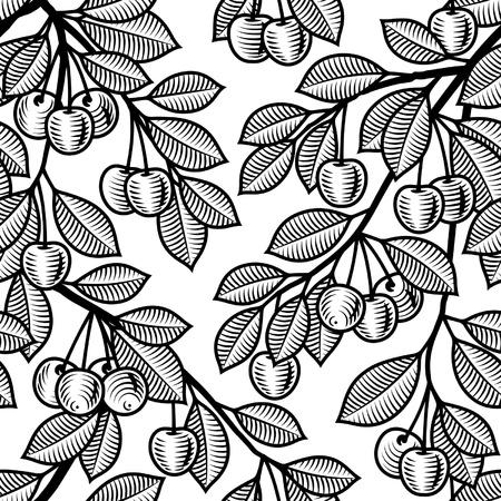 dessin noir blanc: Seamless cerise noire et blanche