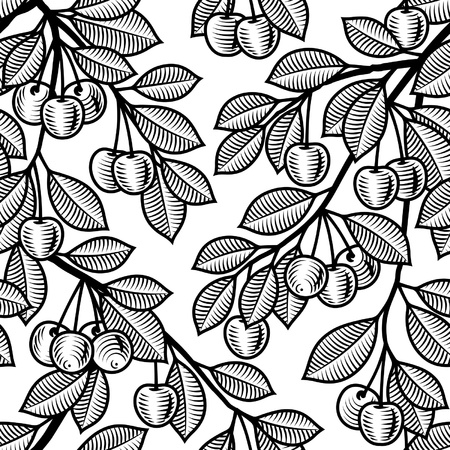 black and white line drawing: Seamless cherry background black and white