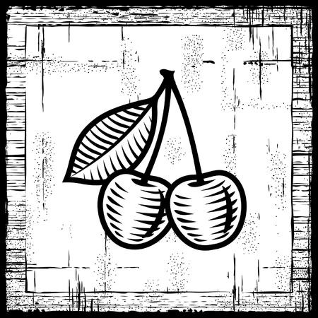 orchard fruit: Retro cherry black and white