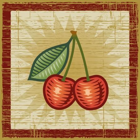 fruit stem: Retro cherry Illustration