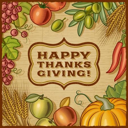 accion de gracias: Retro Tarjeta de Acci�n de Gracias Vectores