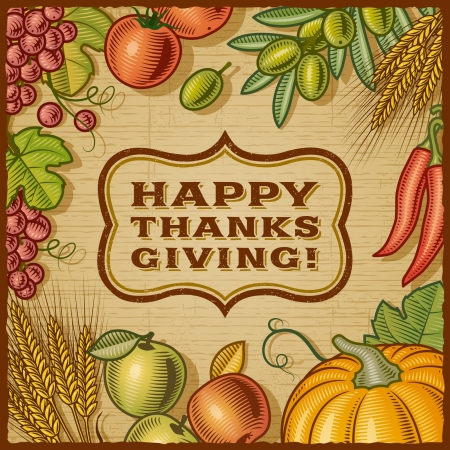 Thanksgiving Retro Card Stock Vector - 15546071