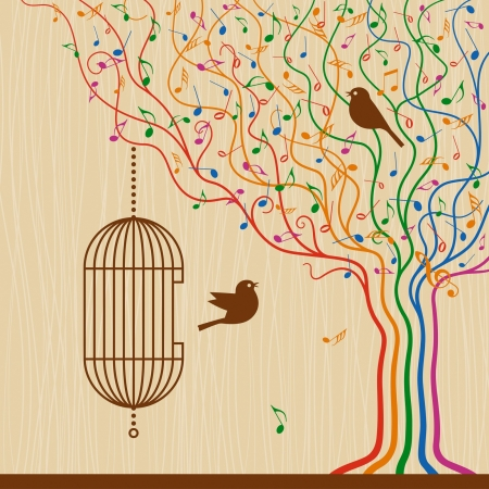 treble clef: Birdcage On The Musical Tree
