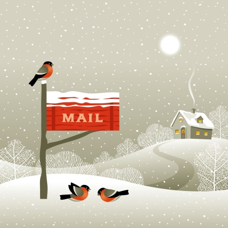 winter scene: Mailbox on the forest edge Illustration
