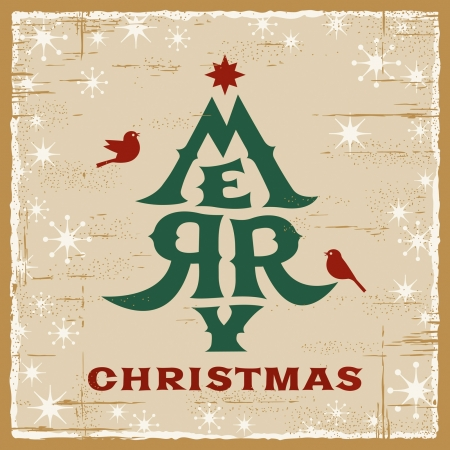 Vintage Christmas Card Stock Vector - 16032899