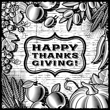 Thanksgiving Retro Card black and white Stock Vector - 16311866