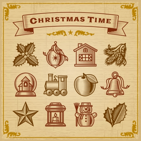 Vintage Christmas Decorations Vector