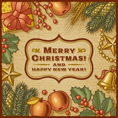 Christmas Retro Card Stock Vector - 16535075