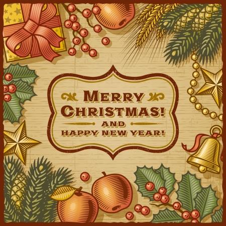 Christmas Retro Card Illustration