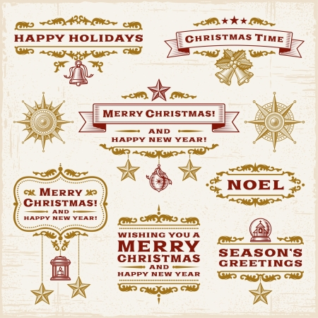 happy new year banner: Vintage Christmas Labels