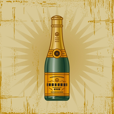 Retro Champagne Bottle Stock Vector - 16731759
