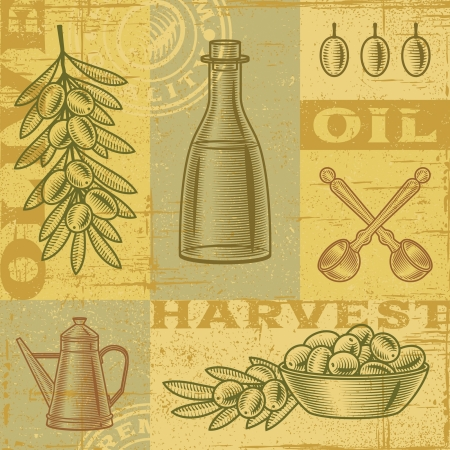 olive farm: Vintage olive harvest background