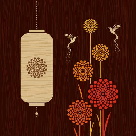 Card with birds, flowers and lantern Stock Vector - 17723181