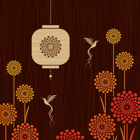 Card with birds, flowers and lantern Stock Vector - 17723182