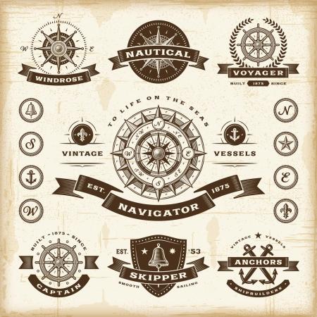 kompas: Vintage námořních štítky sada